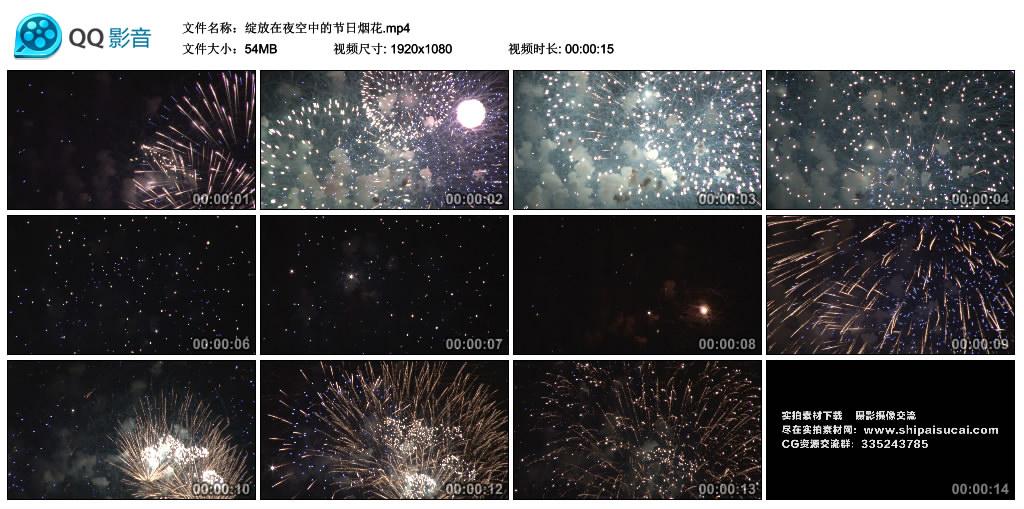 高清实拍视频素材丨绽放在夜空中的节日烟花 视频素材-第1张