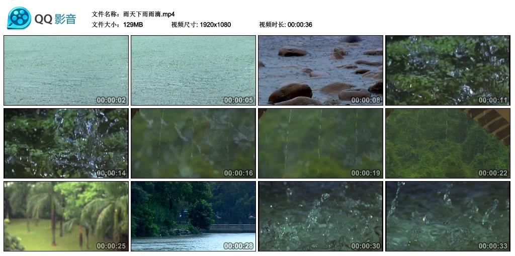 高清实拍视频丨雨天下雨雨滴 视频素材-第1张