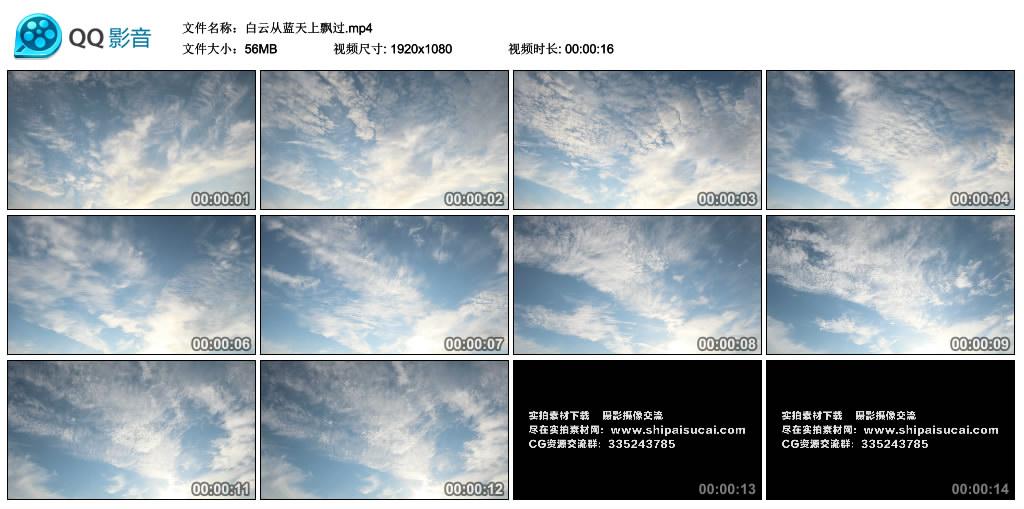 高清实拍视频丨白云从蓝天上飘过 视频素材-第1张
