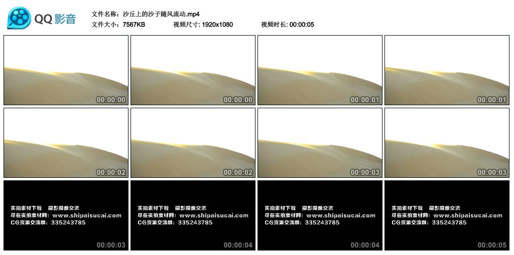高清实拍视频丨沙丘上的沙子随风流动 视频素材-第1张