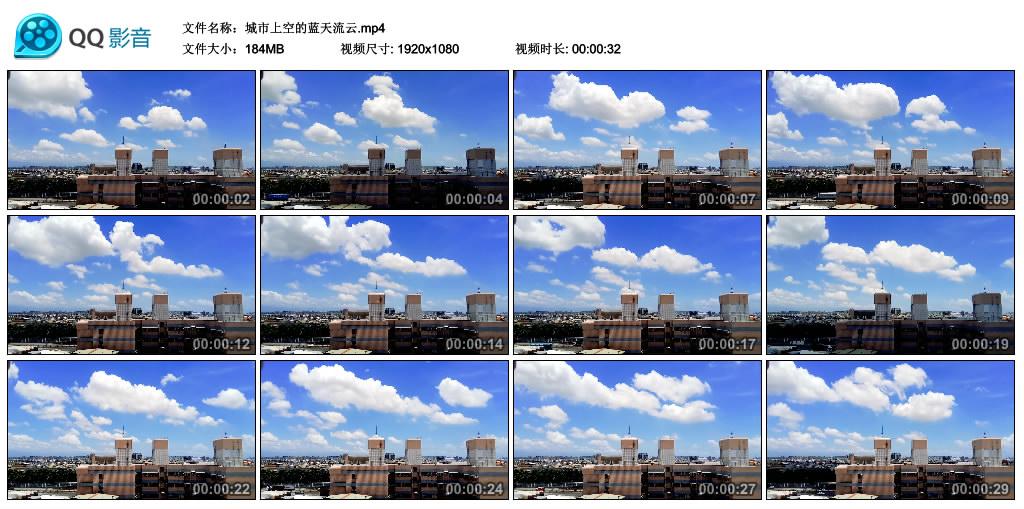 高清实拍视频丨城市上空的蓝天流云 视频素材-第1张