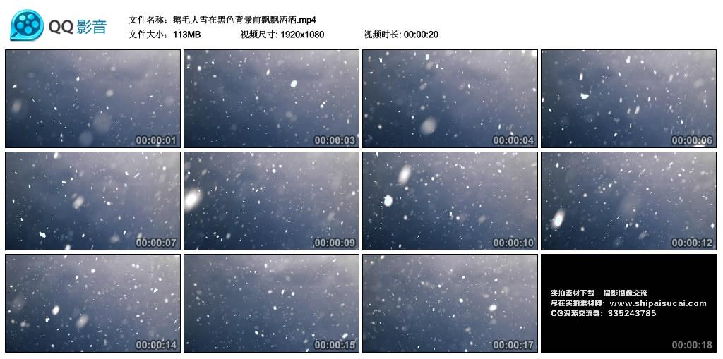 高清实拍视频丨鹅毛大雪在黑色背景前飘飘洒洒 视频素材-第1张