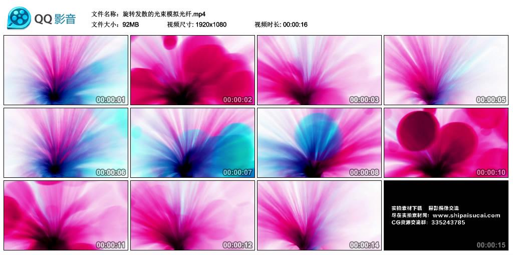 高清动态视频丨旋转发散的光束模拟光纤 视频素材-第1张