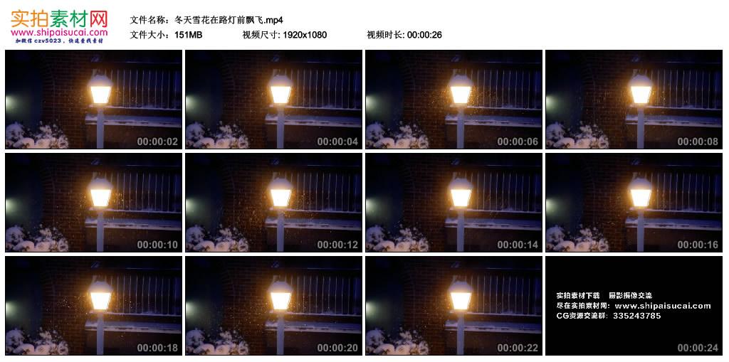 高清实拍视频丨冬天雪花在路灯前飘飞 视频素材-第1张