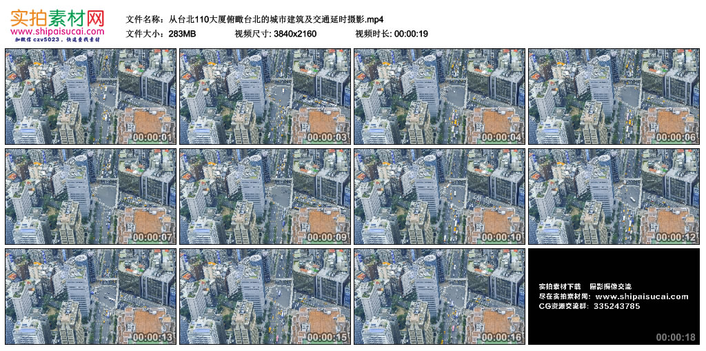 4K视频素材丨从台北101大厦俯瞰台北的城市建筑及交通延时摄影 4K视频-第1张