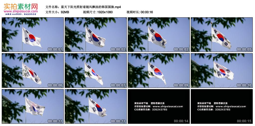 高清实拍视频丨蓝天下阳光照射着随风飘扬的韩国国旗 视频素材-第1张