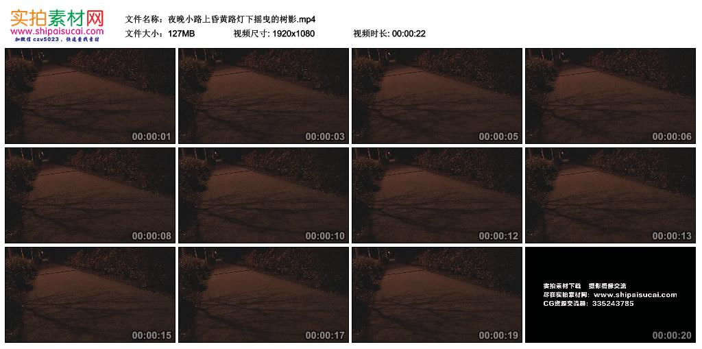 高清实拍视频丨夜晚小路上昏黄路灯下摇曳的树影 视频素材-第1张
