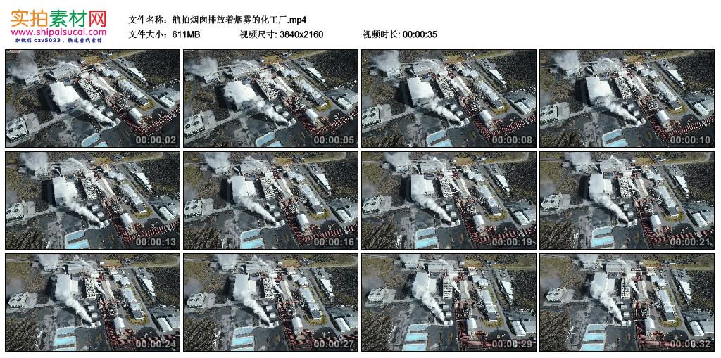 4K视频素材丨航拍烟囱排放着烟雾的化工厂 4K视频-第1张
