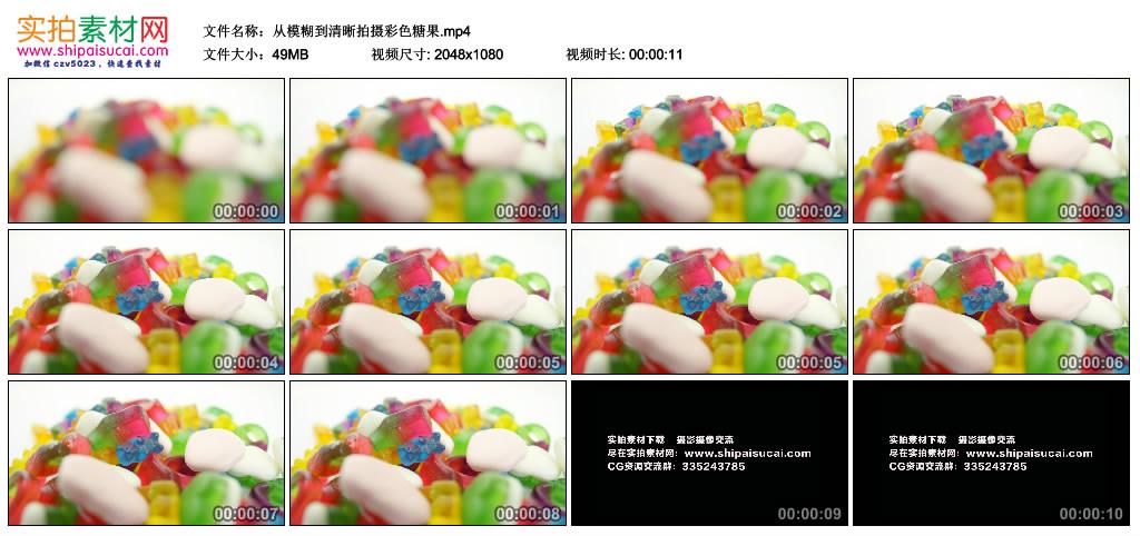 高清实拍视频丨从模糊到清晰拍摄彩色糖果 视频素材-第1张