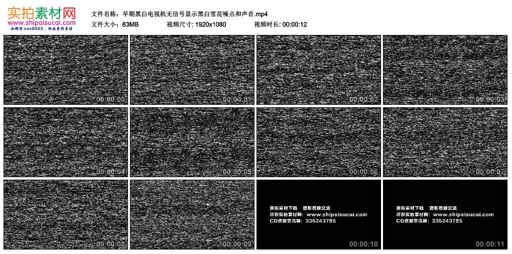 视频丨早期黑白电视机无信号显示黑白雪花噪点和声音 视频素材-第1张