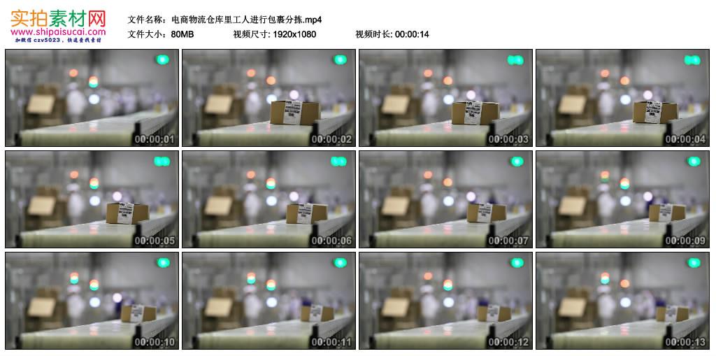 高清实拍视频丨电商物流仓库里工人进行包裹分拣 视频素材-第1张