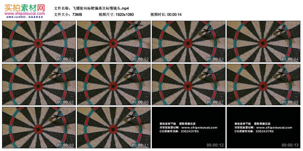 高清实拍视频素材丨飞镖射向标靶偏离目标慢镜头 视频素材-第1张