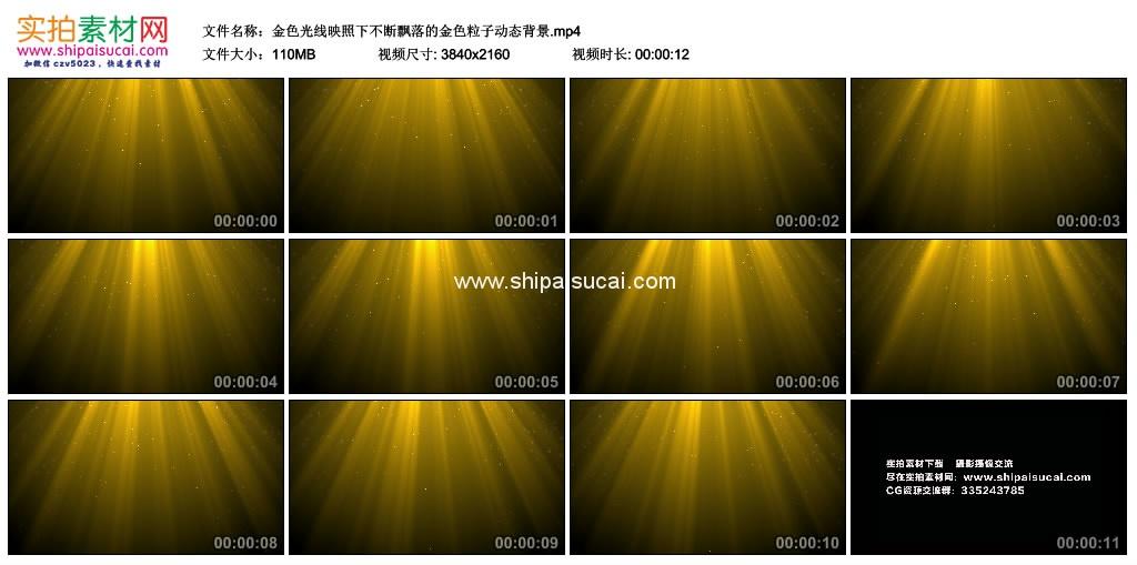 4K动态视频素材丨金色光线映照下不断飘落的金色粒子动态背景 4K视频-第1张