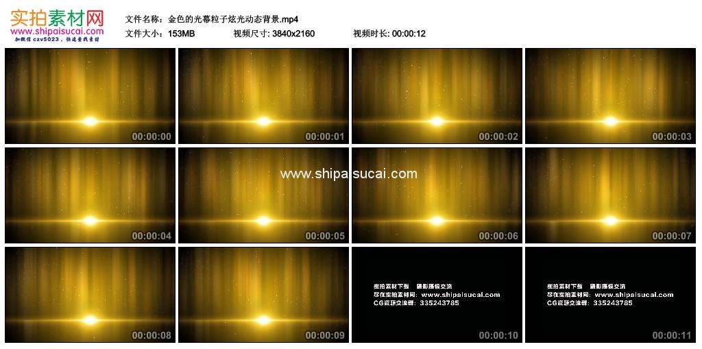 4K动态视频素材丨金色的光幕粒子炫光动态背景 4K视频-第1张