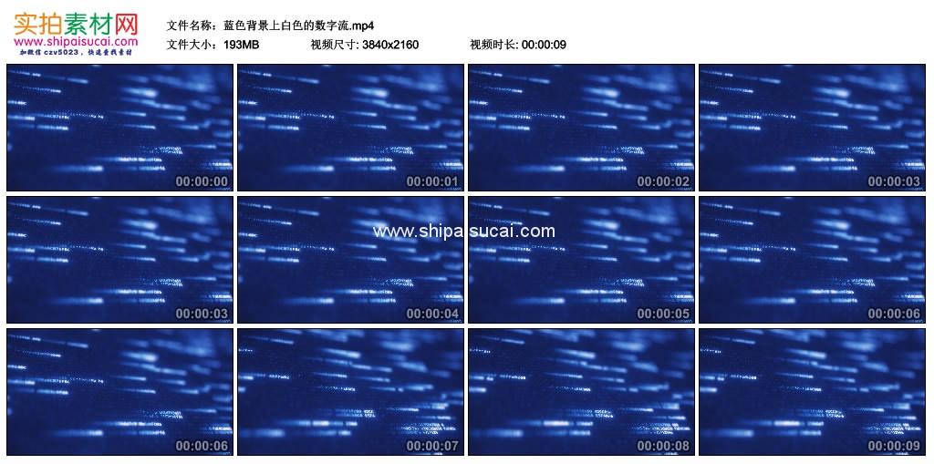 4K动态视频素材丨蓝色背景上白色的数字流 4K视频-第1张