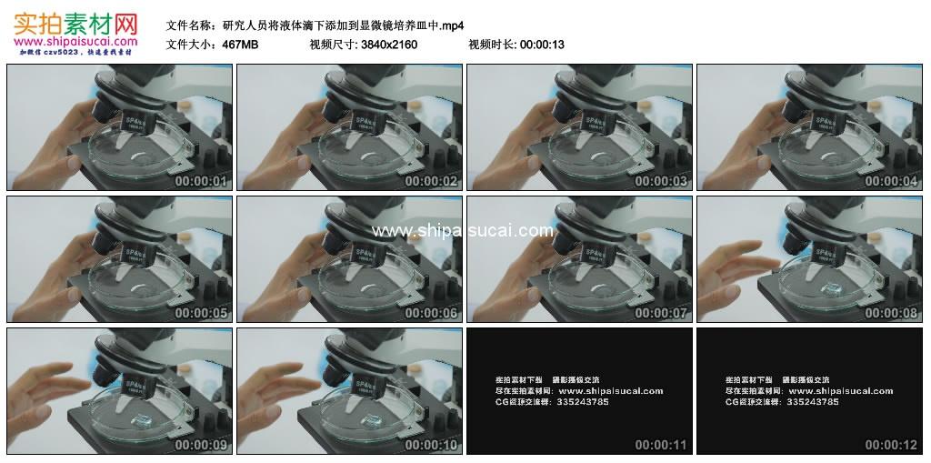 4K实拍视频素材丨研究人员将液体滴下添加到显微镜培养皿中 4K视频-第1张