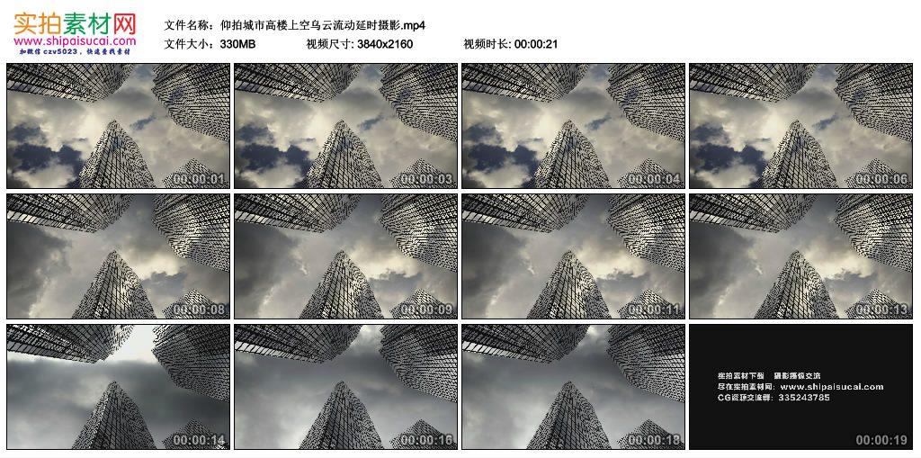 4K实拍视频素材丨仰拍城市高楼上空乌云流动延时摄影 4K视频-第1张