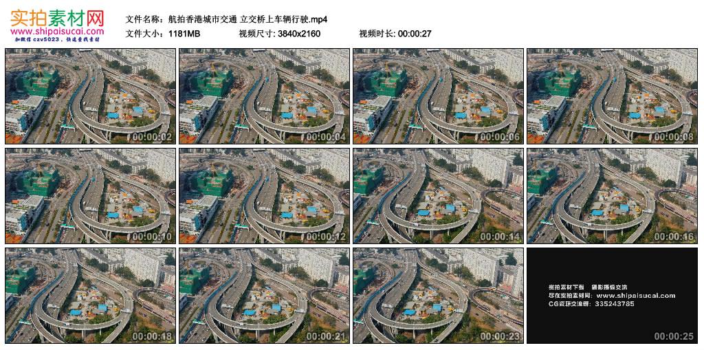 4K实拍视频素材丨航拍中国香港城市交通 立交桥上车辆行驶 4K视频-第1张