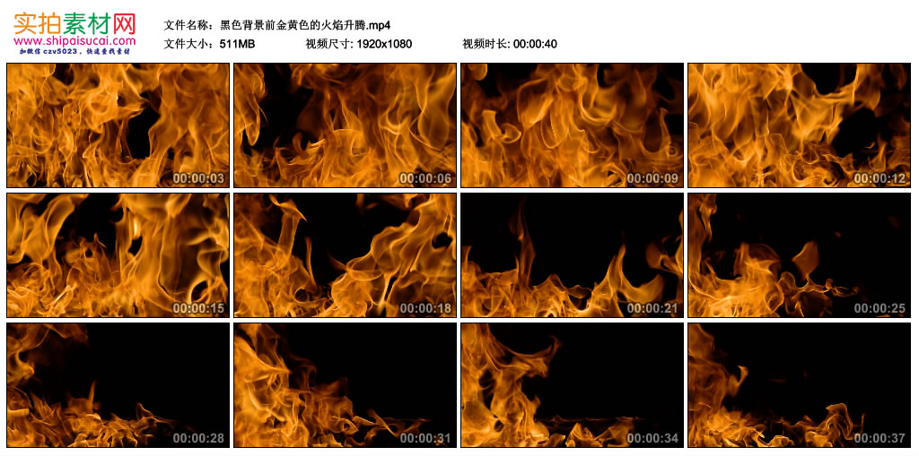 高清实拍视频素材丨黑色背景前金黄色的火焰升腾 视频素材-第1张