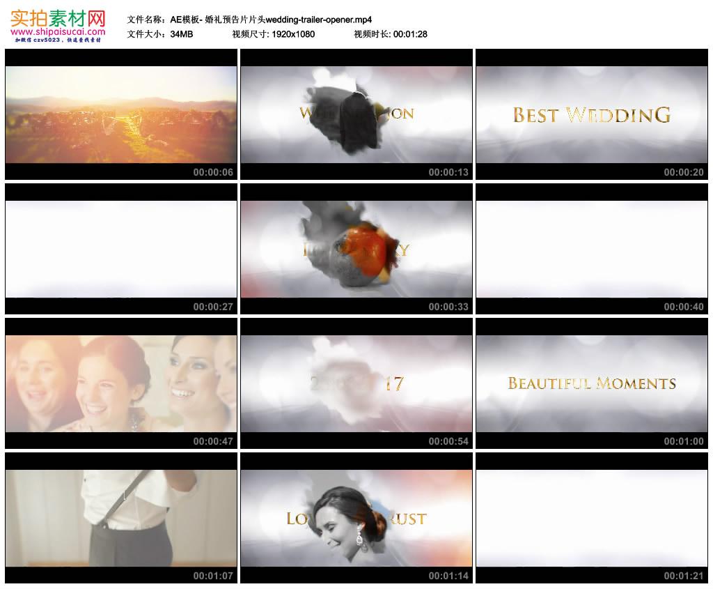 AE模板丨清新浪漫婚礼预告片片头wedding trailer opener 视频模版-第1张