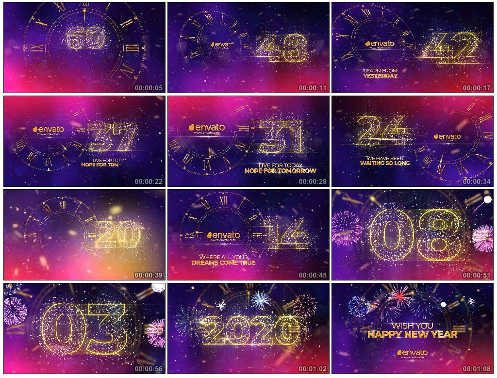 AE模板丨2020年金色大气一分钟新年倒计时 视频模版-第1张