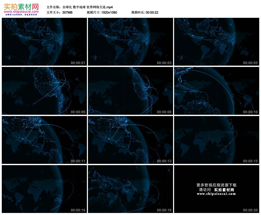 高清动态视频素材丨全球化 数字地球 世界网络互连 视频素材-第1张