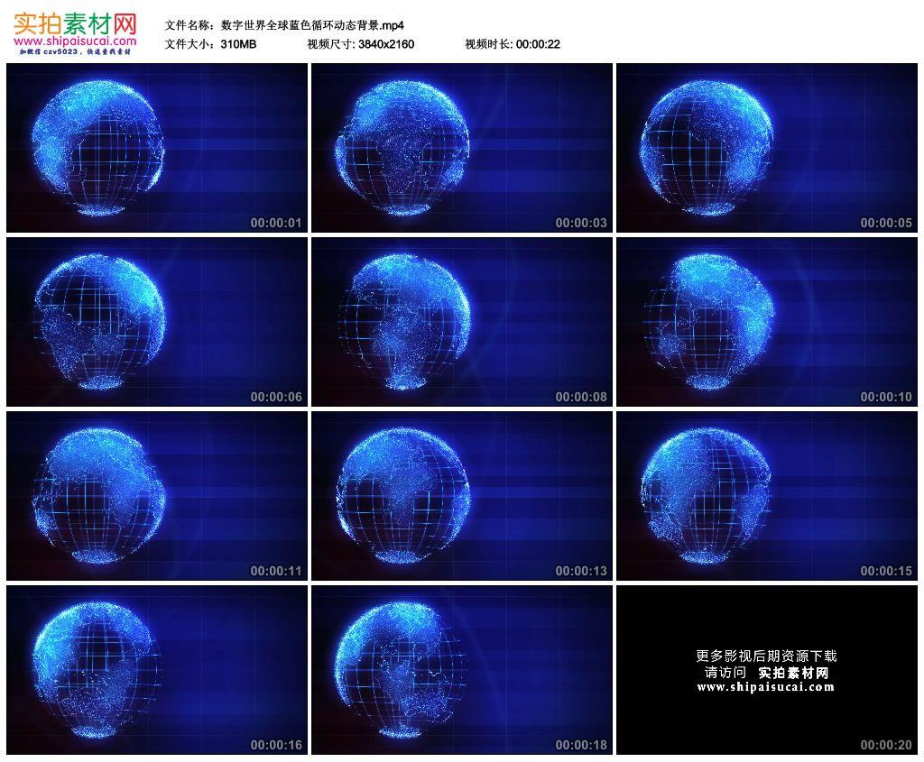 4K动态视频素材丨数字世界全球蓝色循环动态背景 4K视频-第1张