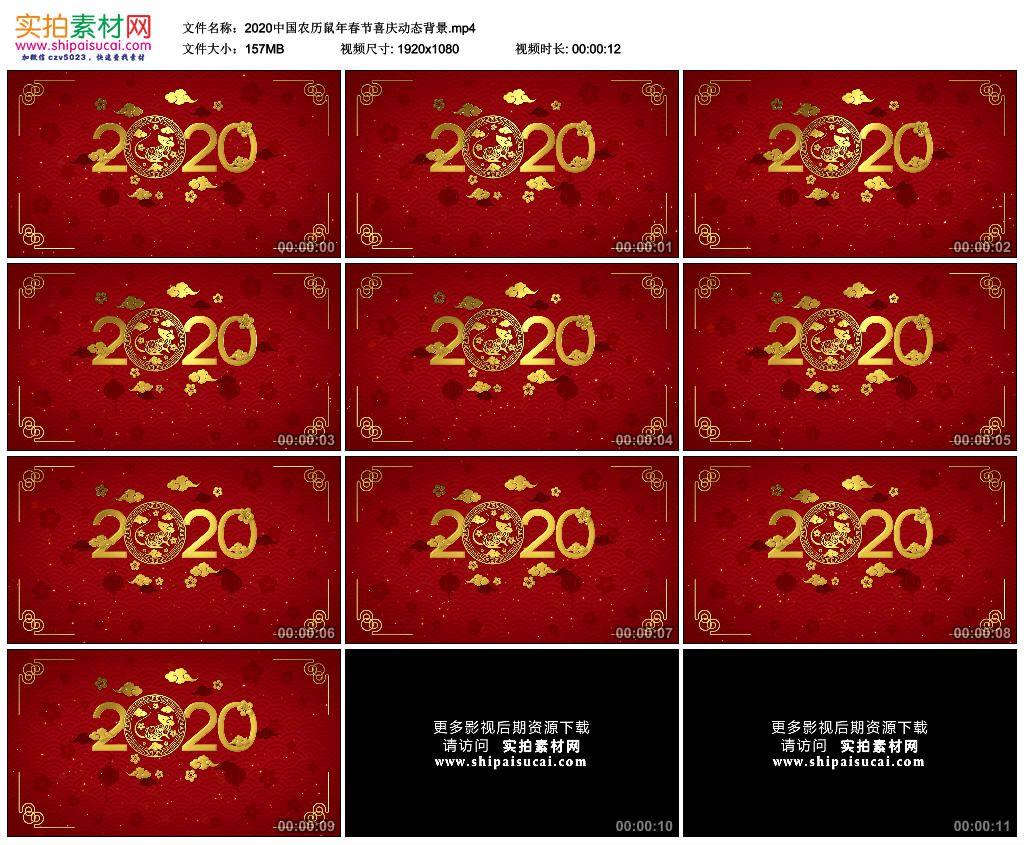 高清动态视频素材丨2020中国农历鼠年春节喜庆动态背景 视频素材-第1张