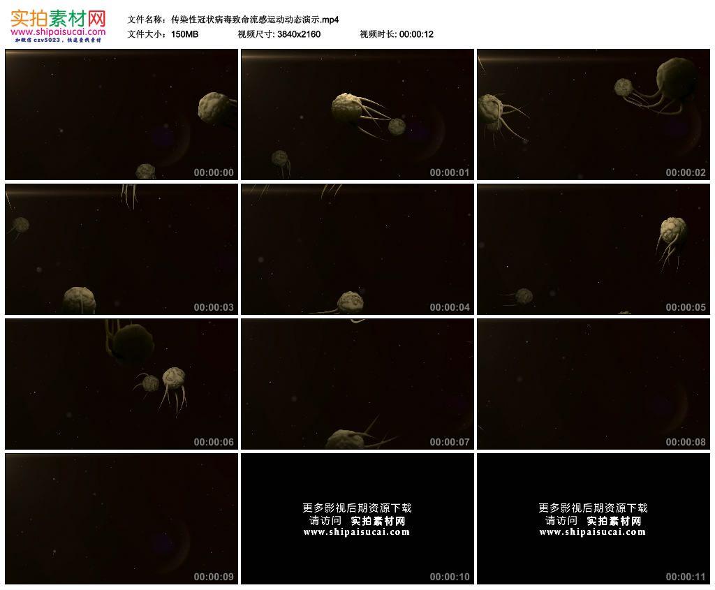 4K动态视频素材丨传染性冠状病毒致命流感运动动态演示 4K视频-第1张