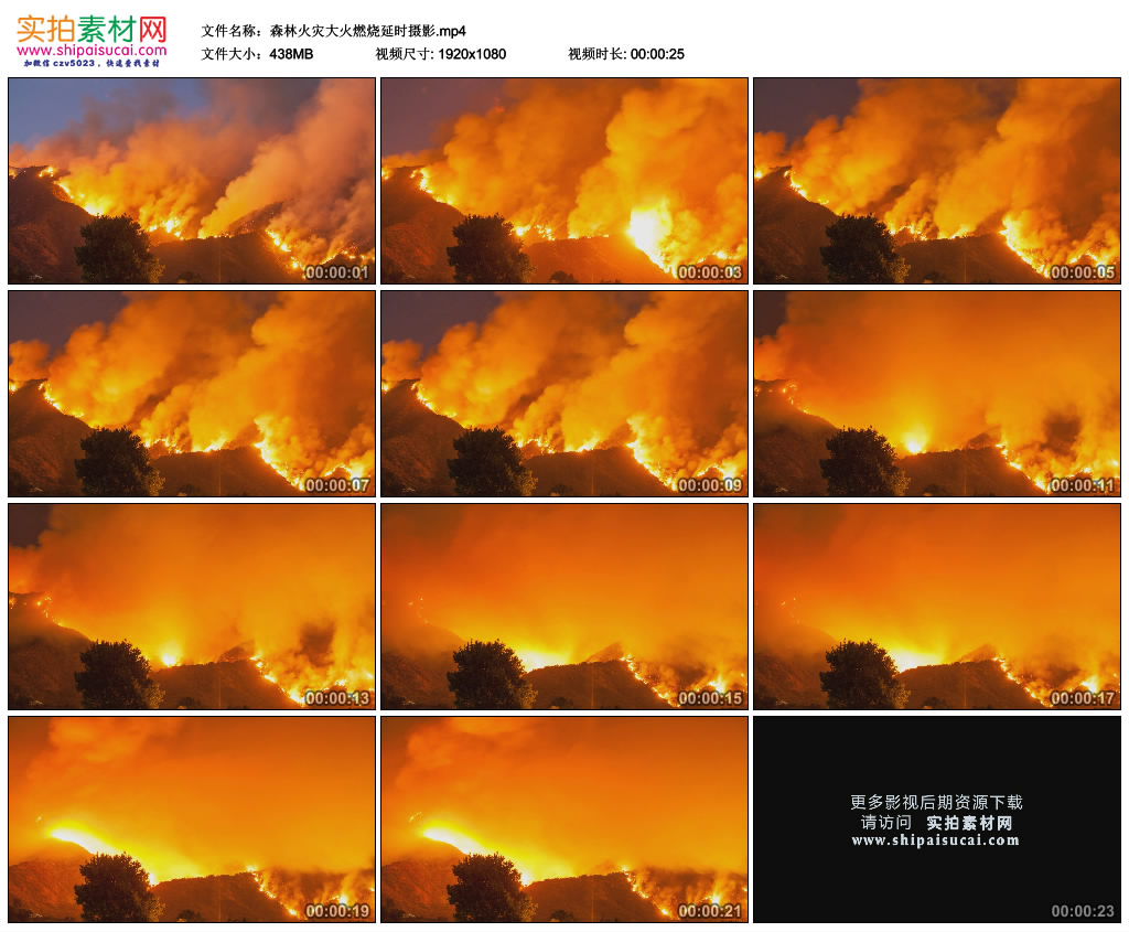 高清实拍视频素材丨森林火灾大火燃烧延时摄影 视频素材-第1张