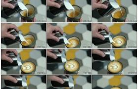 高清实拍视频素材丨特写制作心形拿铁咖啡