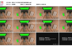 4K实拍视频素材丨俯拍女子双手敲击绿屏电脑的键盘