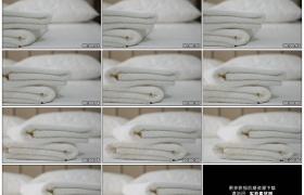 高清实拍视频素材丨移摄酒店里叠放整齐的床铺