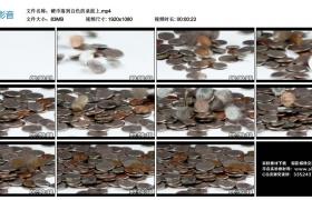 高清实拍视频丨硬币落到白色的桌面上