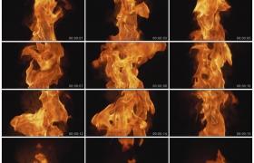 高清实拍视频素材丨黑色背景前火焰升腾燃烧