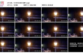 高清实拍视频丨冬天雪花在路灯前飘飞