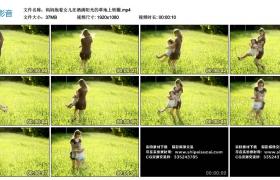 高清实拍视频丨妈妈抱着女儿在洒满阳光的草地上转圈