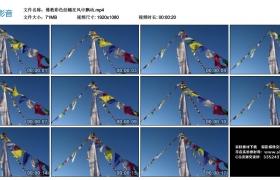 高清实拍视频素材丨佛教彩色经幡在风中飘动