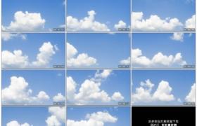 4K实拍视频素材丨晴天湛蓝的天空上白色的云朵流动延时摄影