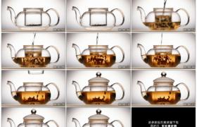 高清实拍视频素材丨特写用开水冲泡透明茶壶中的茶叶