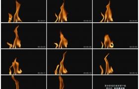 高清实拍视频素材丨黑色背景前金黄色的火焰燃烧