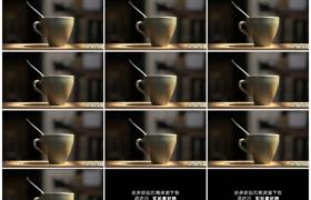 高清实拍视频素材丨阳光照射着装着热咖啡冒着热气的咖啡杯