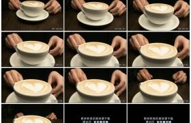高清实拍视频素材丨特写侍者端上一杯卡布奇诺咖啡