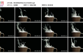 高清实拍视频丨黑色背景前冒着白色水汽的茶杯