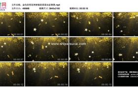 4K动态视频素材丨金色的雪花和掉落的星星动态背景
