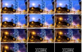 4K实拍视频素材丨香港夜晚街头的车流延时摄影