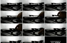 4K实拍视频素材丨特写停止播放唱片音乐关闭留声机