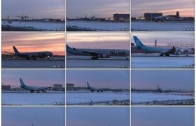 高清实拍视频素材丨冬天加拿大越洋航空公司飞机着陆