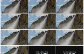高清实拍视频素材丨瀑布从高山上流下水汽弥漫慢镜头