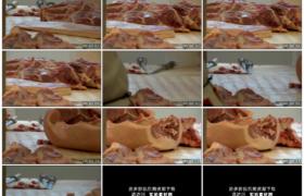 高清实拍视频素材丨屠宰场流水线上的猪肉